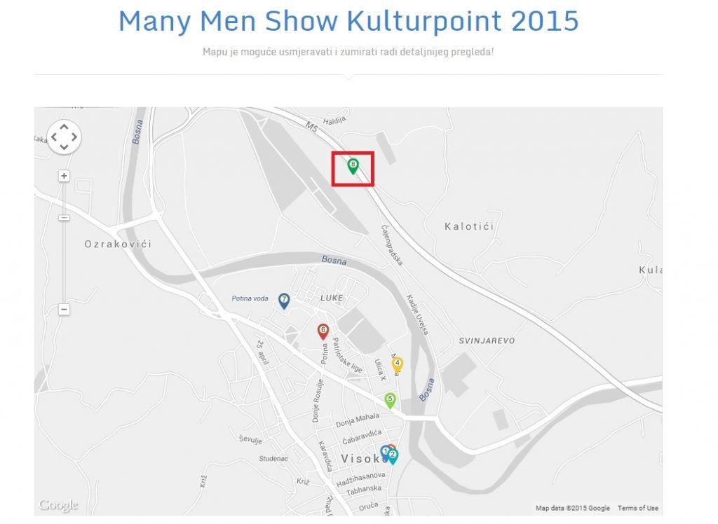 Lokacija održavanja Walls izložbe označena je brojem 8 unutar crvenog kvadratića...